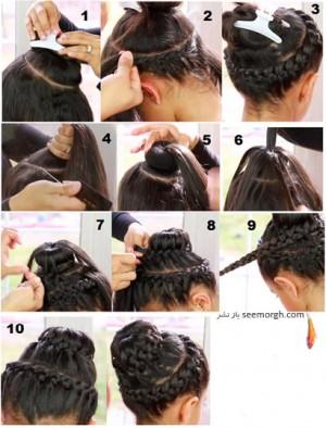 آموزش شینیون مو به صورت بافت