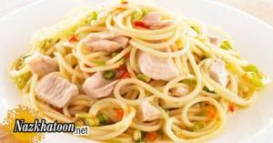 اسپاگتی با تن ماهی خوشمزه و لذیذ