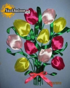 درست کردن گل با ربان روی پارچه