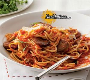 روش پخت اسپاگتی باسوسیس