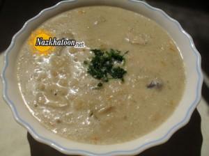 تهیه سوپ شیر با قارچ