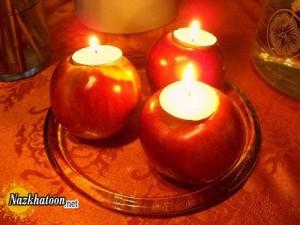 ایده جالب برای شمع آرایی با سیب