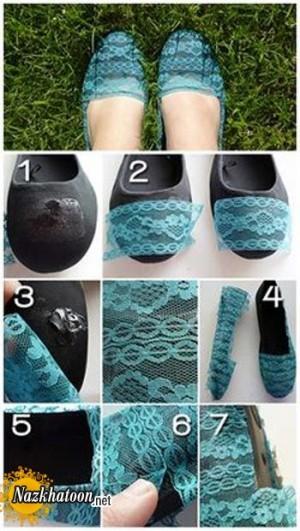 ایده جالب برای تزئین کفش عروسکی کهنه