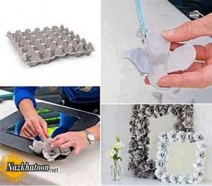 تزئین آینه با مواد بازیافت