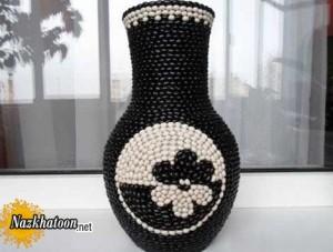 آموزش تصویری تزئین گلدان با دانه های لوبیا