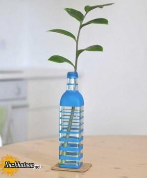 رنگ کردن شیشه ساده و استفاده به جای گلدان
