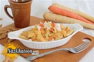 دستور پخت ماکارونی هویج و پنیر
