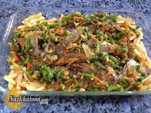 طرز تهیه ماهى و سبزیجات در فر