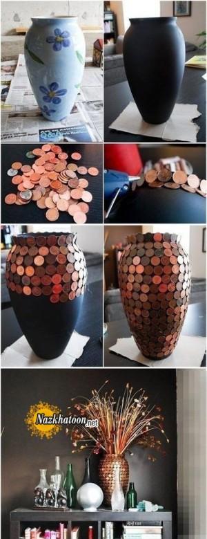روش جالب تزیین گلدان ساده با سکه