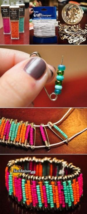 ساخت دستبند با سنجاق و منجوق