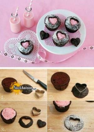 ایده جالب برای درست کردن کاپ کیک قلبی