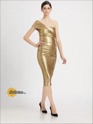 Gold-Sequin-Dress-One-Shoulder