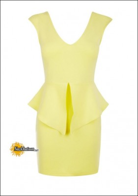 Peplum-Dress-Yellow-Without-Sleeves