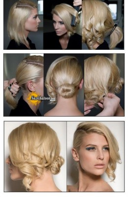 Short-hair-hairstyle-tutorials-Chignon-With-Side-Waves