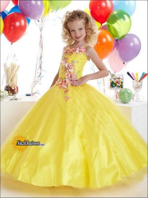 Yellow-Girls-Dresses-Strap-And-Beaded-Long