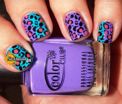 Pink-White-Cheetah-Cute-Nail-Design