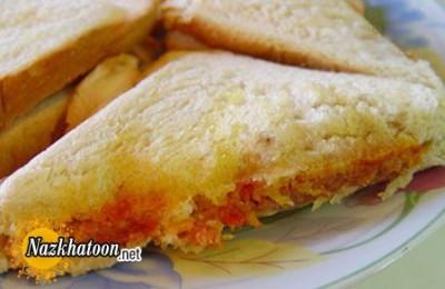 روش تهیه ساندویچ نان تست با نخود