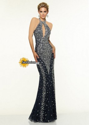 2015-Navy-Halter-Neck-Beaded-Keyhole-Back-Long-Prom-Dress