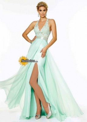 Aqua-Halter-Neck-Beaded-Side-Slit-Open-Back-Long-Evening-Gown