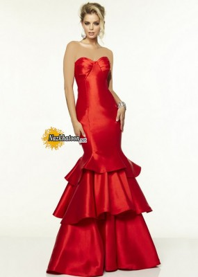 Bright Red Strapless Mori Lee 97100 Satin Ruffled Mermaid Prom Dress
