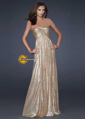 La Femme 17085 Shinning Gold Sequined Long Prom Dress Sale