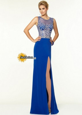 Royal Beaded Illusion Neckline And Back Slit Leg Prom Gown