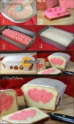 درست کردن کیک قلبی سوپرایز