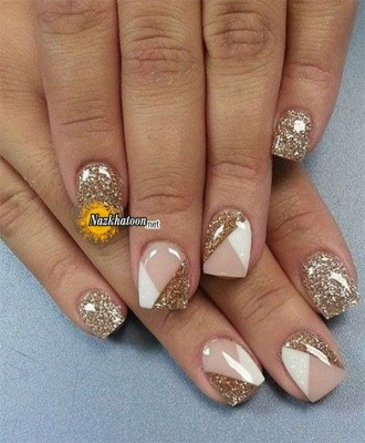 golden-white-glitter-nail-art