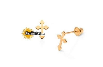 ornate-cross-childrens-earrings-with-screw-posts-14k-gold