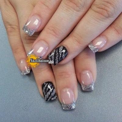 silver-black-gilitter-art-nail