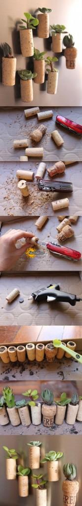 درست کردن گلدان با چوب پنبه