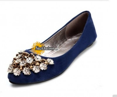 Blue-Shiny-Diamond-Flat-Elegant-Bridal-Shoes