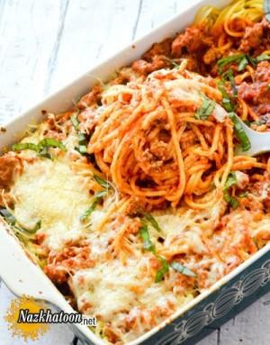 طرز تهیه اسپاگتی پخته با پنیر