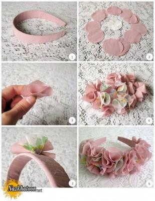 ساخت هدبند با گل پارچه ای