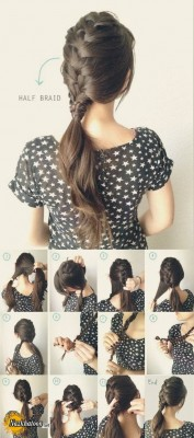 Simple-Hairstyle-For-Girls-at-Home-Without-Hairspray-Half-French-Braided-Ponytail-Tutorial