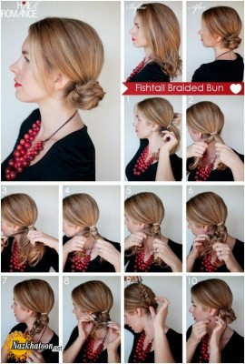Simple-Hairstyle-For-Girls-at-Home-Without-Hairspray-How-to-Fishtail-Braided-Bun-Hairstyle-Everyday-Hairstyles-Tutorials
