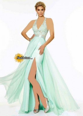Aqua Halter Neck Beaded Side Slit Open Back Long Evening Gown
