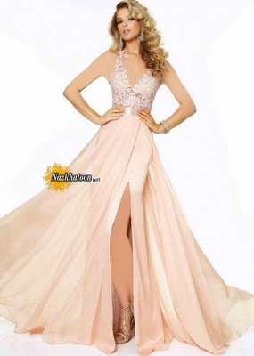 Blush Halter Beaded Lace Chiffon Side Slit Long Prom Dress 2015