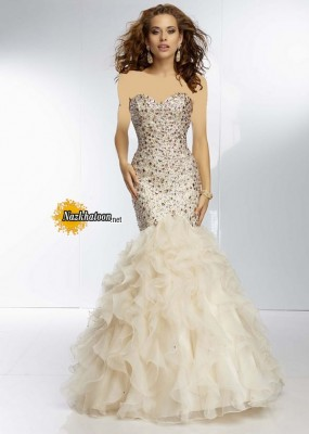 Champagne Strapless Mori Lee 95076 Beaded Organza Prom Dress