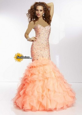 Coral Strapless Sparkly Beaded Elegant Ruffled Mermaid Prom Dress