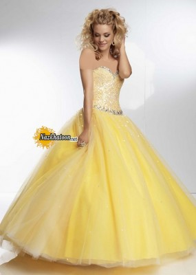 Dazzling Yellow Strapless Sequined Mori Lee 95102 Corset Back Ball Gown