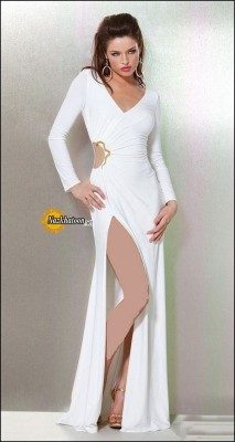 Split-Dresses-For-Women-Long-Sleeves-White