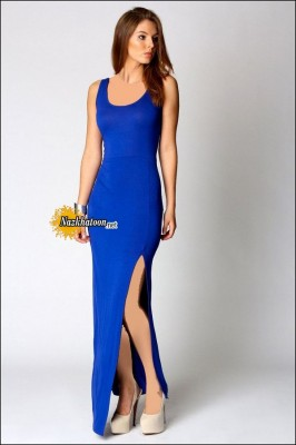 Split-Dresses-For-Women-Royal-Blue