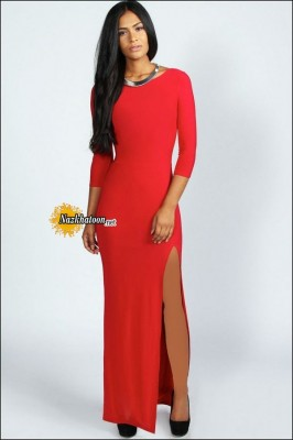 Split-Dresses-For-Women-Scoop-Neck-Red