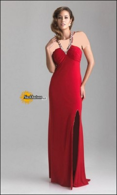 Split-Dresses-For-Women-Strapless-Red