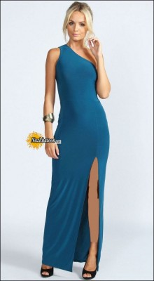 Split-Dresses-For-Women-Teal-Blue