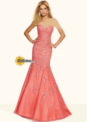 ۲۰۱۶ Flattering Lace Embroidery Strapless Coral Corset Back Prom Dress