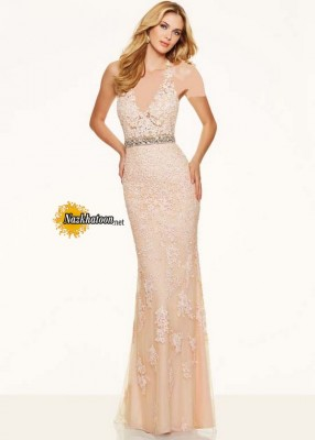 ۲۰۱۶ Halter V Neck Beaded Lace Embroidery Fitted Long Blush Prom Dress