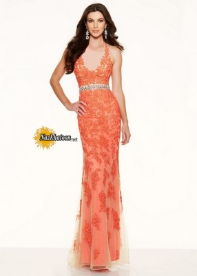 Beautiful Beaded Lace Embroidery Halter V Neck Coral Evening Dress