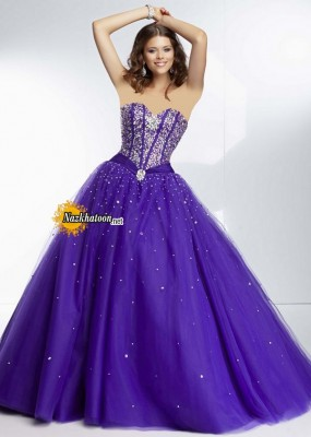 Deep Purple Beaded Satin Bust Strapless Ball Gown Prom Dress
